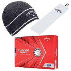 Charcoal Tour Authentic Beanie, TriFold Towel White and Chrome Soft Tripe Track Balls