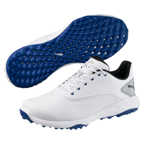 Puma Grip Fusion Mens Golf Shoes Puma White Black True Blue  3e4b5615a4e